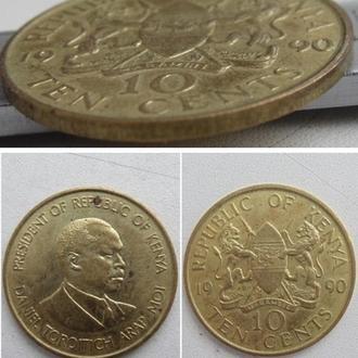 Кения 10 центов, 1990г. Материал Никелевая латунь