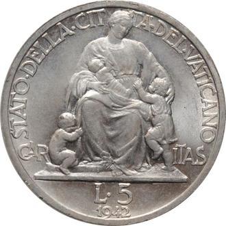 """Ватикан 5 лир 1942 г., BU, """"Папа Пий XII (1939 - 1958)"""""""