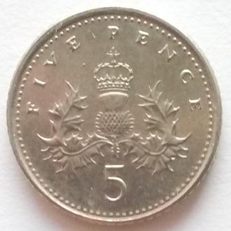 Великобритания 5 пенсов 2008 -старый тип-