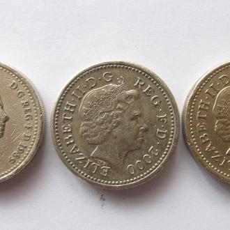 1 фунт 1989; 2000; 2004 гг