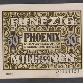Германия. Гроссгельд. г.Дюссельдорф. 50 миллионов марок. 1923г.