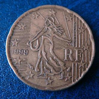 Франция 20 центов 1999