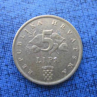 монета 5 липа Хорватия 1993 флора