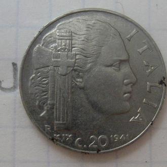 20 чентезимо 1941 г., ИТАЛИЯ.