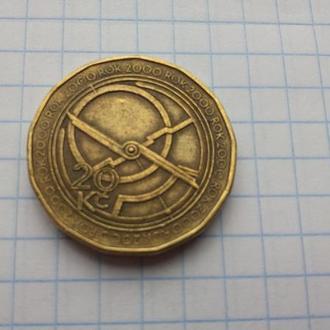 Чехия 20 крон 2000 юбилейная Миллениум