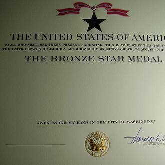 Наградной сертификат Бронзовая звезда США Bronze Star USA Оригинал