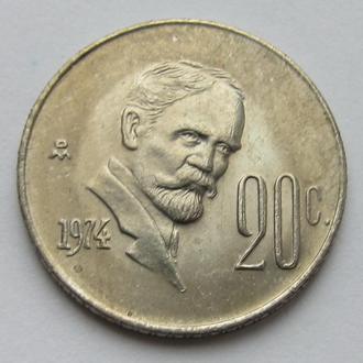 Мексика 20 сентаво 1974 (KM#442)