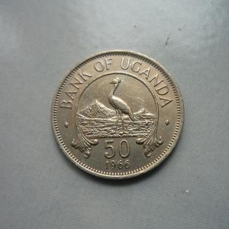 Уганда 50 центов 1966 немагнитная фауна