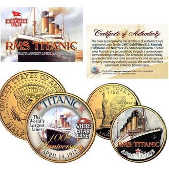 Набор Цветных Позолоченных Монет США Титаник