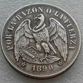 Чили 1 песо 1890 г.  Птица Кондор копия