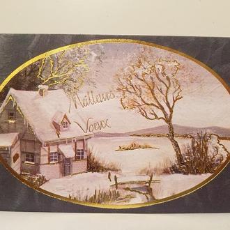 Старая иностранная разворотная открытка, Франция, Париж! (Структурированная бумага!)