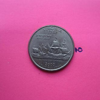 США, 25 центов 2000 года (VIRGINIA).