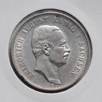 Саксония 3 марки 1911 г., 'Король Фридрих Август III (1904-1918)', СОСТОЯНИЕ