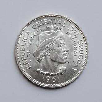 Уругвай 10 песо 1961 г., UNC, '150 лет Революции против Испании'