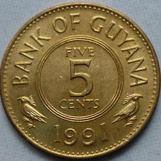 Гайана 5 центов 1991 состояние