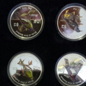 """Новая Зеландия, набор из 4 монет """"Птицы Новой Зеландии"""", 2005 г, серебро 999 31,1 гр., в футляре"""