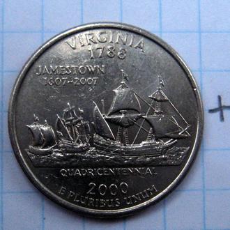 """США. 25 центов 2000 г. (ШТАТ ВИРДЖИНИЯ """"Р"""")."""