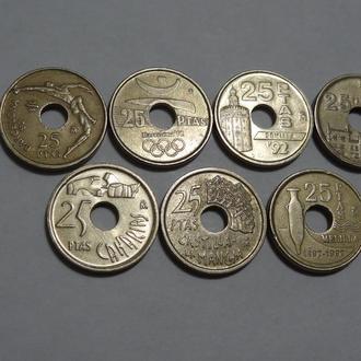 Испания 25 песет 1990-1997 г. 7 шт.