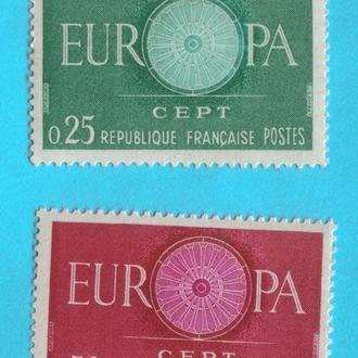 Франция Ми 1318-19, 1960 год MNH полная серия