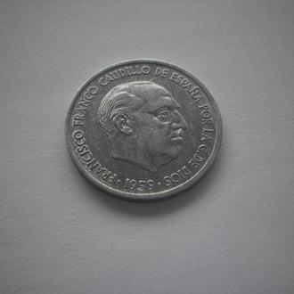 Іспанія. Монета старого зразка. 10 сентімів. 1959 рік. Франціско Франко. СТАН.