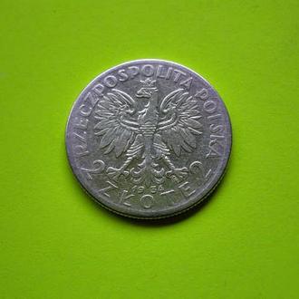 Серебро 750 пробы 2 злотых ПОЛЬША 1934 год Оригинал