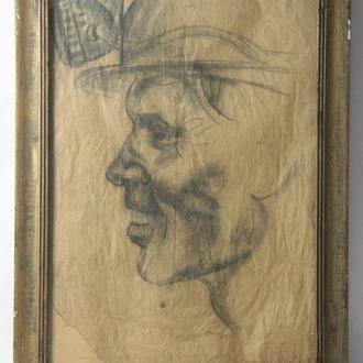 "Шульган А.В. ""Портрет шахтера"". Карандашь, бумага. Размеры 60х40 см."