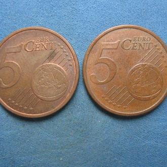 5 евро центов 2 шт.