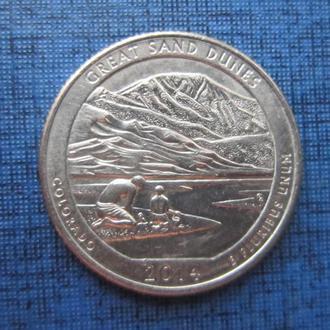 монета квотер 25 центов США 2014 D Колорадо Грейт Санд Дюнс