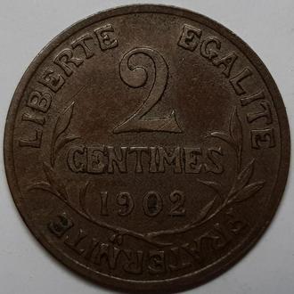 Франция 2 сантимов 1902 года СОСТОЯНИЕ!!!! НЕ ЧАСТАЯ!!!!!
