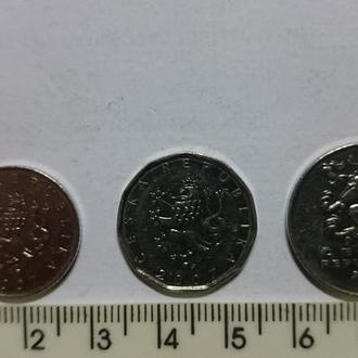 Чехия- подборка монет .- 3шт
