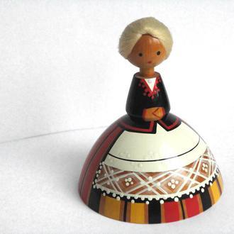 Кукла деревянная  паричковая Девочка SALVO Tallinn 1960-е гг. ИДЕАЛЬНОЕ СОСТОЯНИЕ!