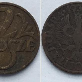 Польша 2 гроша, 1930г. ПериодВторая Республика (1919 - 1939)