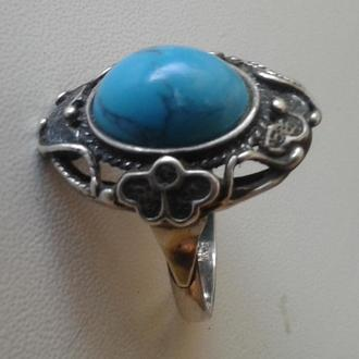 Старинное серебряное кольцо с натуральной бирюзой, довоенное.