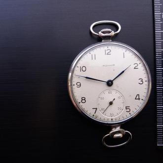 """Часы карманные """"Молния"""" переделанные для ношения на руке, СССР."""