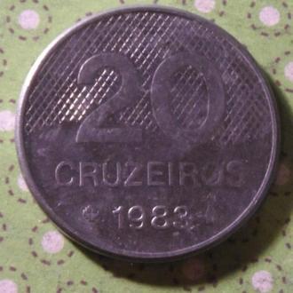 Бразилия 1983 год монета 20 крузейро !