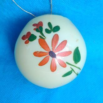 Елочная игрушка  Шар с художественной росписью с цветочками 30-40-е годы. Редкость! (5К)