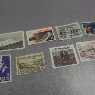 марки Канада 1979 горы пейзаж 1946, 1964, 1968 транспорт поезд, гуси, живопись 1970 лот 8 шт №57
