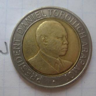 КЕНИЯ 20 шиллингов 1998 года (БИМЕТАЛЛ; ПОРТРЕТ ВПРАВО).