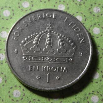 Швеция 2002 год монета 1 крона !