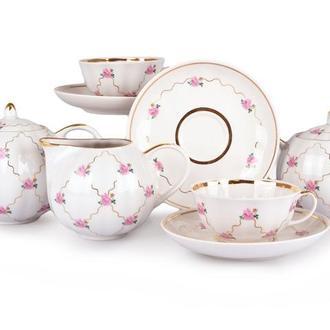 """Сервиз чайный """"Розовый мотив"""" 15 предметов Дулево"""