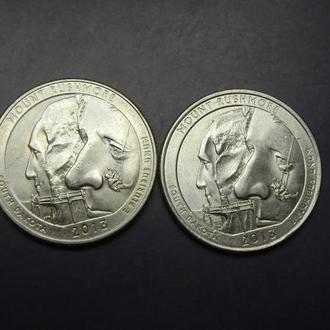 25 центів 2013 США Маунт Рашмор (два різновиди)
