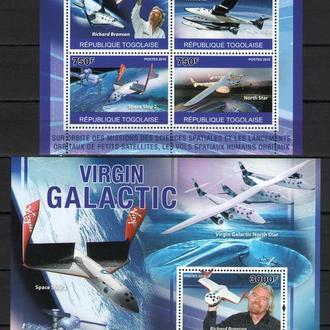 Того 2010 Авиация Самолеты Космолеты Virgin Galactic бл+мл MNH **