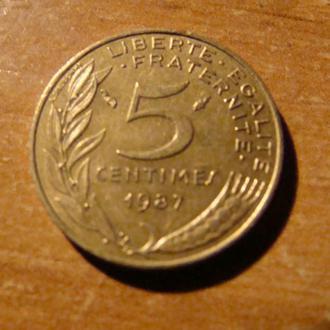 Франция 5 сантимов 1987