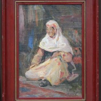 М. Лизогуб ,,Женщина,, холст на фанере, масло. Размеры 35х25 см.