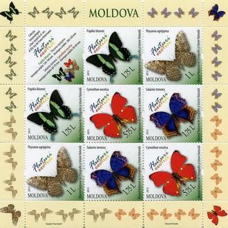 Молдова 2013 Бабочки Фауна. Сборный лист **