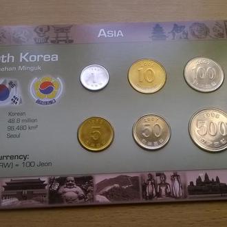 Набор монет ЮЖНАЯ КОРЕЯ пластик картон блистер запайка набір ПІВДЕННА КОРЕЯ