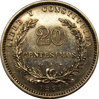 Уругвай 20 centesimos 1877 AU  Срібло   #59