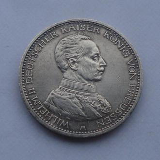 1913 г - 5 марок Германия,Вильгельм в мундире,серебро
