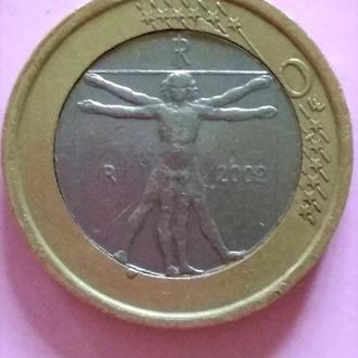РЕДКИЙ БРАК, 1 евро, Италия, 2002 г.