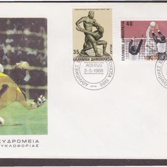 Греция 1986 ЧЕМПИОНАТ ЕВРОПЫ ФУТБОЛ ВОЛЕЙБОЛ БОРЬБА ВЕЛОСПОРТ ГОНКА КПД Mi.1622-1625 EUR 9.-